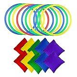 Bolsas Frijoles Juego Lanzamiento, 10 Piezas Anillos Lanzamiento Plástico y 10 Piezas Bolsas Frijoles Nylon, para Niños Interior al Aire Libre Fiesta Familia Jardín Juegos Deportivos(Color Aleatorio)