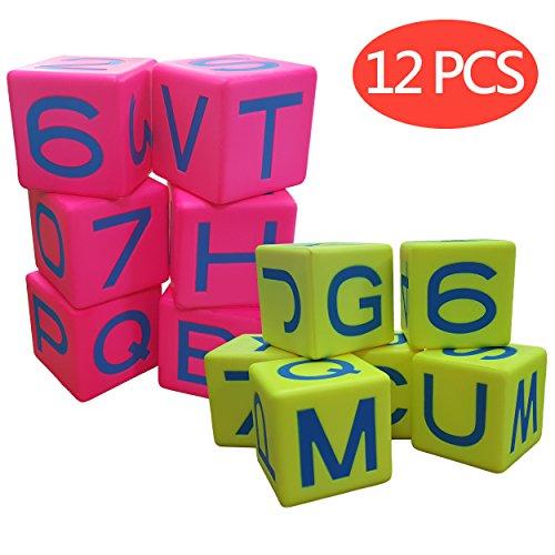 マクロジャイアント 3.2インチ アルファベットキューブ 12個セット ネオンレッド ネオンイエロー 教育用語学習補助 アラビア数0-9