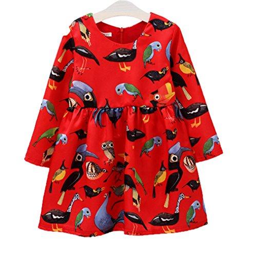 Baby meisjes Kerstmis kleding lange mouwen Pageant party prinses jurk vogelmeisjes-prinsesjurk 3-4 Jahr rood