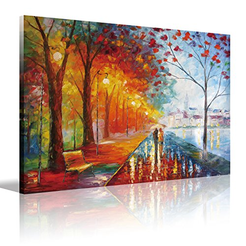 Lovers Canvas Wall Art Couple Walking by The River,Artwork Romantic Painting for Living Room Bedroom,Decorations Wall Decor,Canvas Prints Stretched and Framed Ready to Hang,12x16inch(30x40cm)1pc