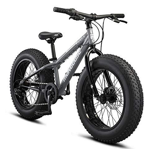 Mongoose Argus ST Kids Fat Tire Mounatin Bike, 20-Inch Wheels, Mechanical Disc Brakes, 7-Speed, Grey