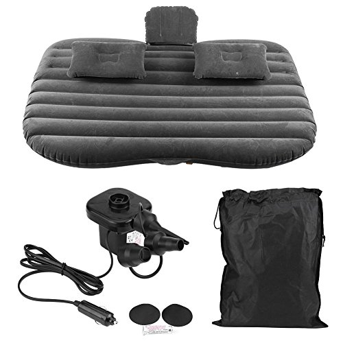 Inflatable Car Air Mattress –Portable Travel Camping Car Inflatable Air Mattress with Pillow SUV Back Seat Extended Mattress with 2 Pillows And Air Bed with Pump Kit Universal (Black)