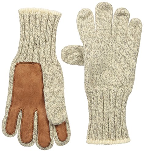 FoxRiver Men's Ragg & Leather Glove, Brown Tweed, Large