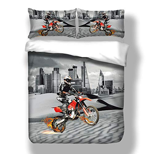 Loussiesd Double Duvet Cover Set Motocross Racer Grey City and Motorcycle 3D Print Quilt Cover Set with 2 Pillow Shames Lightweight Soft Microfiber Bedding Sets with Zipper Closure 3PCs (200x200cm)