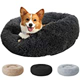 Perfectmiaoxuan Round Donut Cuddler Cat and Dog Bed,Non-Slip Bottom Soft Plush Pet Cushion,Super Soft Fluffy Self-Warming Calming Cat Dog Bed,Anti Anxiety, Washable