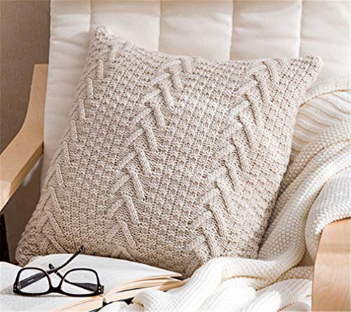 FORD KING Decorative Cotton Knitted Pillow Case Cushion Cover Double-Cable Warm Throw Pillow Covers for Bed Couch 18' X 18' (Cover Only, Beige)