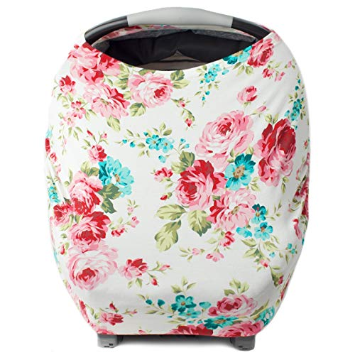 Car Seat Cover for Babies, Nursing Cover, Carseat Canopy - White Foral