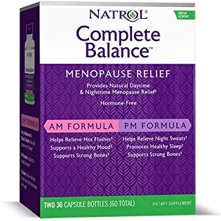 Natrol Complete Balance A.M./P.M. Capsules for Menopause Relief, Helps Relieve Hot Flashes and Night Sweats, Complete Day and Night Menopause Support, Provides Mood Support, 30 Count (Pack of 2)