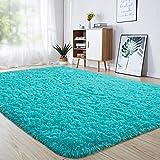 junovo Ultra Soft Area Rugs 4 x 5.3ft Fluffy Carpets for Bedroom Kids Girls Boys Baby Living Room Shaggy Floor Nursery Rug Home Decor Mats, Turquoise Blue