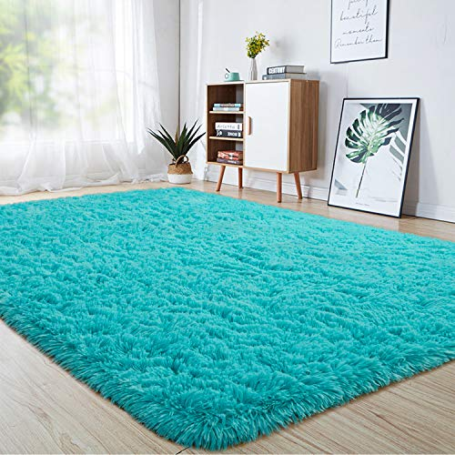junovo Ultra Soft Area Rugs 3 x 5ft Fluffy Carpets for Bedroom Kids Girls Boys Baby Living Room Shaggy Floor Nursery Rug Home Decor Mats, Turquoise Blue