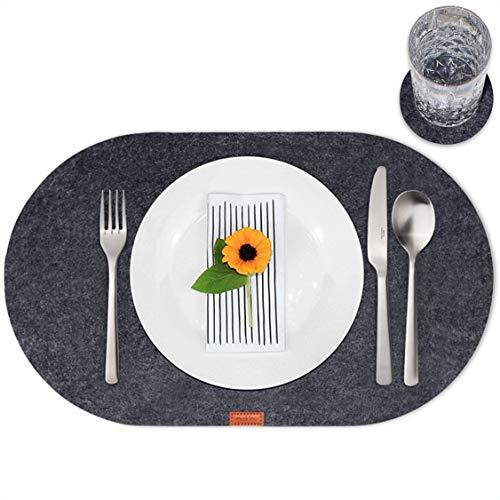 mokinu - 6er Filz Tischset inkl. Glas-Untersetzer - Premium Platzdeckchen, Set für 6 Personen, Design Platzset oval, abwaschbare Tischuntersetzer anthrazit