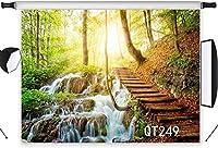 新しい7x5ftフォレストジャングル写真撮影の背景ストリーム木製階段木写真背景スタジオプロップカスタマイズQT249