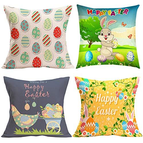 TUPARKA 4 pezzi felice copertura del cuscino di Pasqua con uovo cuscino caso cuscino, linea divano letto cuscino di tiro copre Pasqua Home Decor (18x18 pollici)