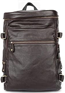 Genuine Leather Backpack Leather Bags Mens Backpack Large-Capacity Casual Backpack (Color : Coffee, Size : S)