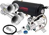 Vixen Horns Train Horn Kit for Trucks/Car/Semi. Complete Onboard System- 200psi Air Compressor, 1.5 Gallon Tank, 4 Trumpets. Super Loud dB. Fits Vehicles Like Pickup/Jeep/RV/SUV 12v VXO8315/4114