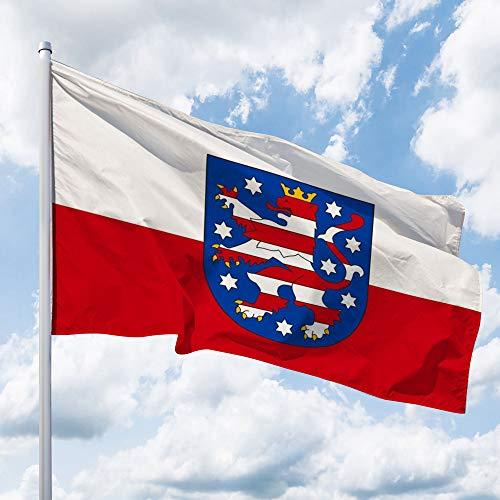 Deitert Bundesland-Flagge Thüringen – 120x80 cm Thüringen Fahne mit Wappen, Hissfahne aus reißfestem Polyester