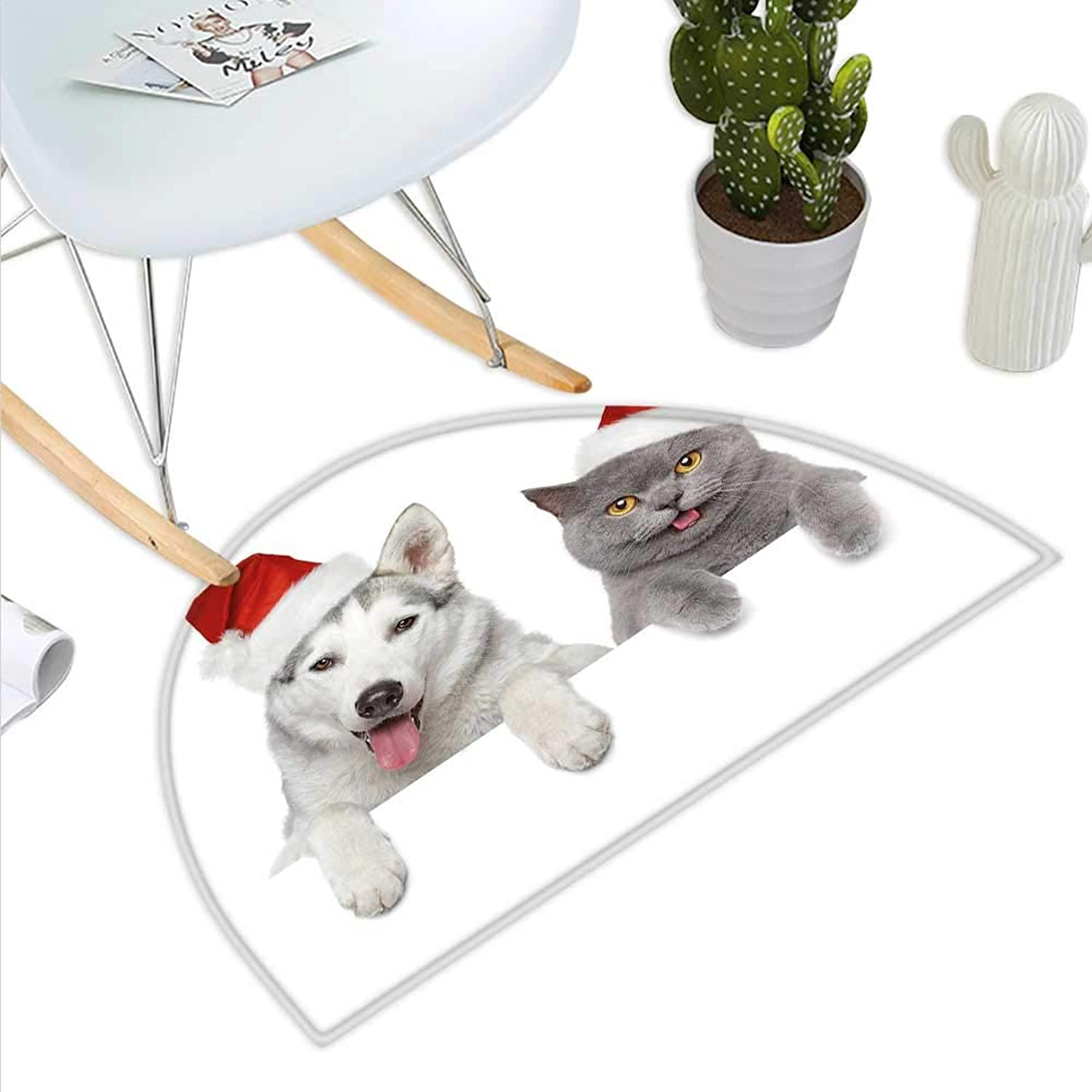 Christmas Semicircular CushionCute Dog and Cat in Santa Red Hats Funny Puppy and Kitty Domestic Pet Animal Entry Door Mat H 23.6  xD 35.4  White Grey Red