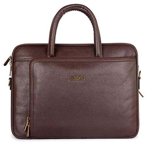 The Clownfish Trident Series 15.6 inch Faux Leather Laptop Briefcase for Men and Women (Chocolate)