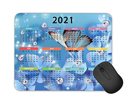 2021 Calendar Personalized Butterfly Mouse Pad Gaming Mouse Pad Computer Accessories Mouse Pad Office Mouse Pad Rectangular Non-Slip Neoprene Mouse Pad