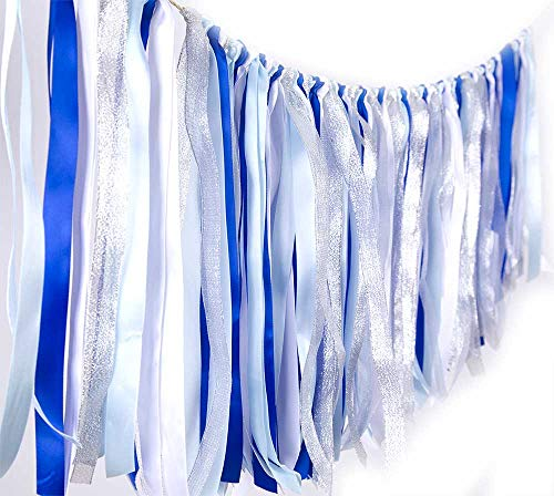 Fabric ribbon garlands with Tassel Garland already assembled ribbon hanging decoration for Baby shower, Weddings,Birthday,Anniversary, Graduation Party decoration Supplies Blue Light Blue White Silver