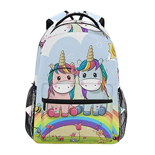 Ahomy Mochila escolar para adolescentes y niños, diseño de unicornios de dibujos animados, arcoíris, sol, abeja, flor, mochila de viaje, mochila de senderismo para mujeres y hombres