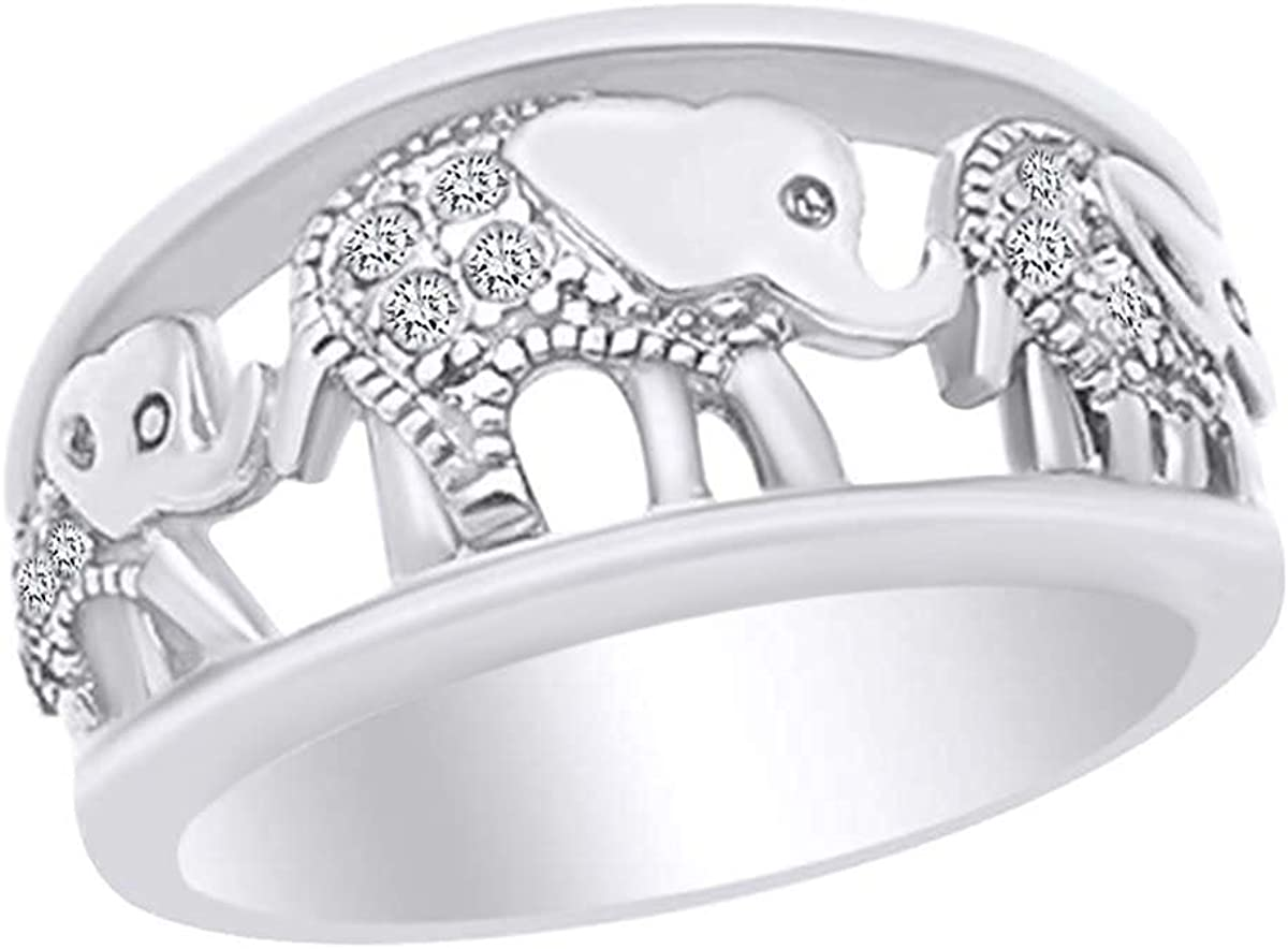 AFFY Round Shape White Free Time sale shipping on posting reviews Cubic Elephant Zirconia Band Ring Fashion