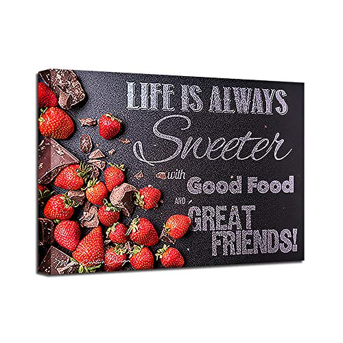 Cyalla Canvas Hd Prints Foto's Keuken Muur Art Decor Framework 1 Stuk Zoete Aardbeien Schilderen Chocolade Snoepjes Voedsel Poster-50X70Cm