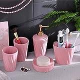 PPOSH Set De Accesorios De Baño Lavabo De Cerámica Dispensador De Emulsión Juego De Baño De Decoración De 5 Baños (Color : Pink)