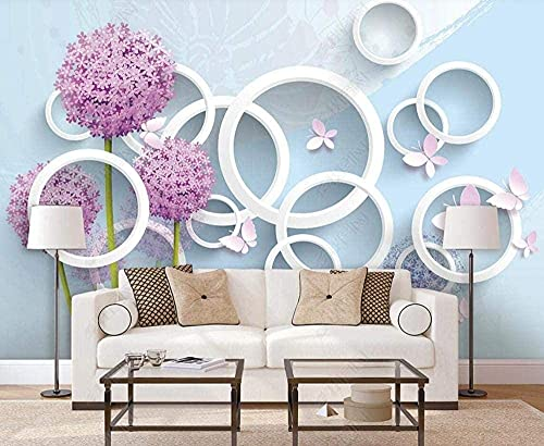 Life Accessories Dandelion Butterfly Circle Non Woven 3D Wall Decoration Murals Living Room Custom 3D Paste Living Room The Wall for bedroom 350cm times 256cm