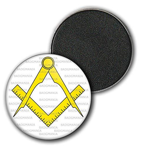 Magnet Aimant Frigo 3.8cm Compas Equerre Francs-Maçons Symbole Maçonnique Jaune Fond Blanc