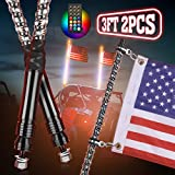 Kemimoto 2PCS 3FT UTV ATV Spiral Whip Light with RF Remote Control, USA Flag, 366+ Lighting Modes Dancing Chasing led Lighted Whips Antenna Flag for Truck RZR 900 1000 Buggy Dune Boat