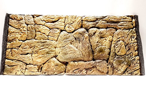 Aqua Maniac 3D Aquarium Background, Thin Rock Beige, Polyresin (Not Foam), 1-2 cm Thick, Unique Aqua Decor (77x36cm)
