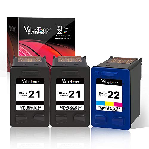 Valuetoner Remanufactured Ink Cartridge Replacement for HP 21 C9351AN & 22 C9352AN for DESKJET F4180 F2210 D1560, OFFICEJET 4315 J3640, FAX 3180, PSC 1401 Printer (2 Black, 1 Tri-Color, 3 Pack)