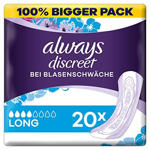 Always Discreet Inkontinenz-Einlagen+ Long bei Blasenschwäche 20 Stück