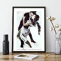 ダンスパーティーポスタータンゴ壁アートパネルモダン抽象ダンサー壁アートパネル写真リビング部屋レストラン装飾キャンバスアートパネル絵画40x60cmいいえフレーム