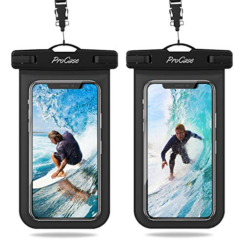 ProCase 2 Bolsas Impermeables Universales para iPhone 12 Mini/Pro/Pro MAX/iPhone SE 2020/XS Max/XR/X/8/7+/6S, Galaxy S20/S20+/S20 Ultra 5G/S10/S10e/S9/S9+/Note8, Huawei Xiaomi LG BQ hasta 6.9' -Negro