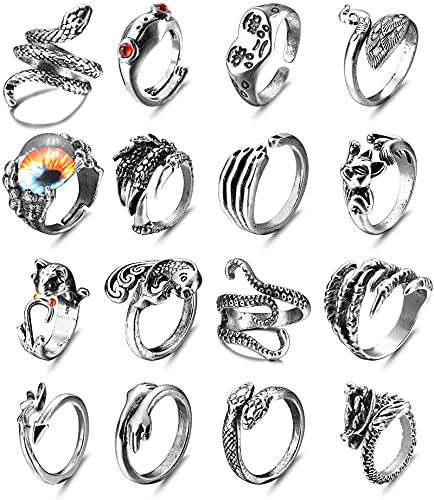 LOLIAS 16 Stück Herren Ringe Vintage Punk Öffnung Ringe Octopus Frog Dragon Schlange Punk Ring für Damen Herren Fingerring Verstellbar Gothic Ring Set Schmuck Geschenk für Männer