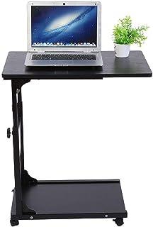 Table pour Ordinateur Portable sur Roulettes Hauteur Réglable avec Rangement Table d'appoint Table de Lit pour Ordinateur ...