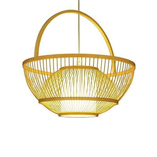 ZGZRXGY Moderno y Simple Estilo Rural Chandelier de bambú Tejido de ratán japonés Colgante de ratán al Sureste Estilo asiático Restaurante decoración Luces doméstico e27 Soltero Cabezal