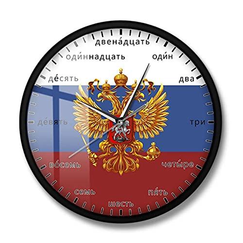 LTMJWTX Vapensköld i Ryssland dubbelhövdad örn patriotisk modern väggkonst klocka ryska språk nummer tyst kvarts väggur - 30 x 30 cm