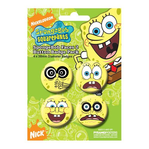 Spongebob Schwammkopf - Button Set Face (in 3,8 cm)
