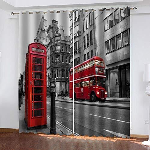 LUOWAN Cortinas Infantil Autobús Rojo de Londres 2 Cortinas para Dormitorio Salón Habitación Comedor con Ojales,Cortina con ollaos para salón,
