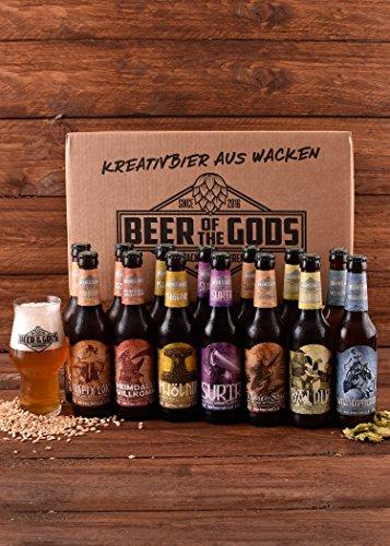 WACKEN BRAUEREI Craft Beer Box 14 x 0,33 l verschiedene Sorten + Bierglas BEER OF THE GODS | GÖTTERGABE | Viking Craftbeer Set Gift for Men | Wikinger Kraft Bier Geschenk für Männer | Party Festival - 2
