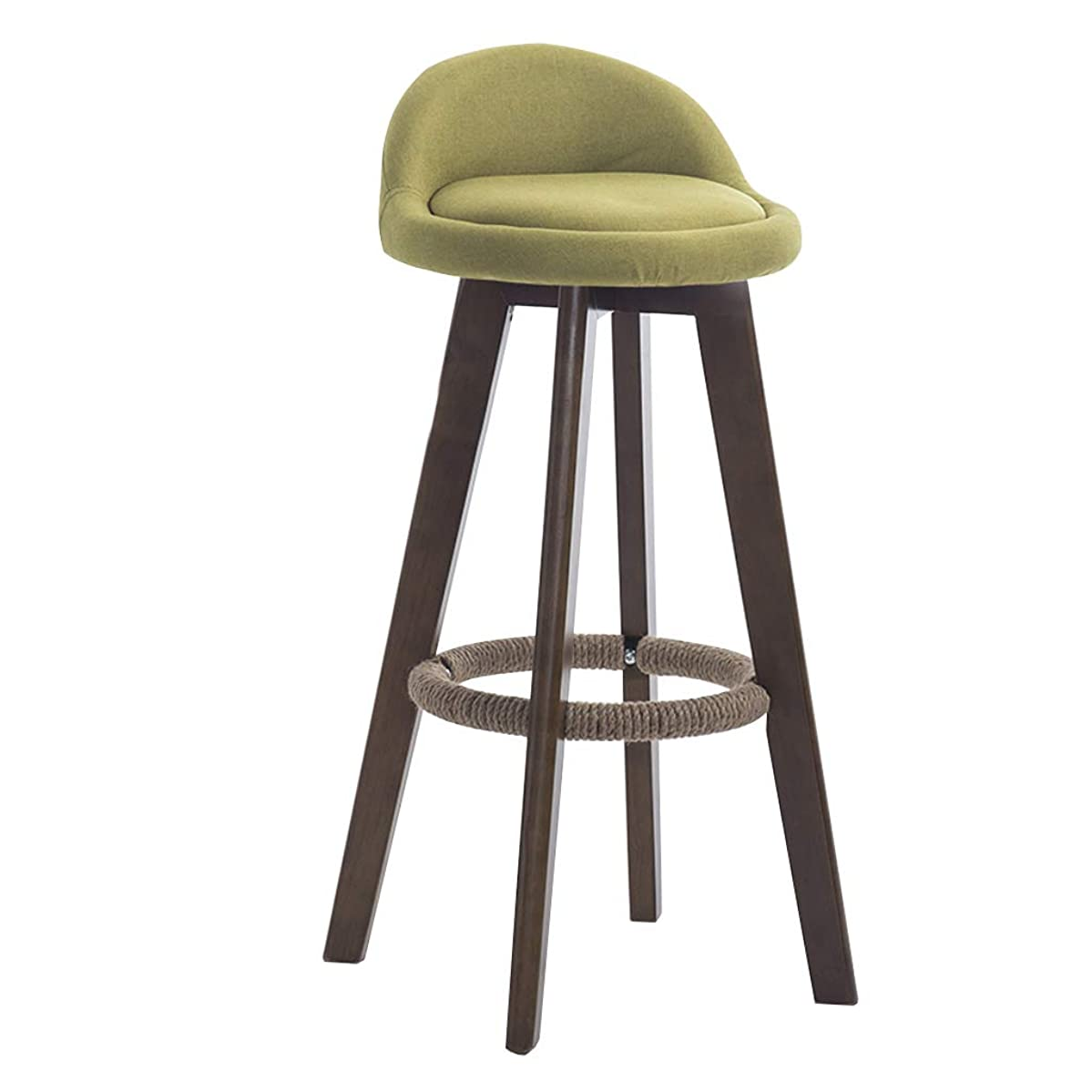 Footrest Wooden Bar Stool, 360° Rotation Bar Chair, Burlap Chair Low Back Footstool, Home Kitchen Breakfast Counter High Bench, 4 Colors 63cm/73cm/83cm (Color : Green, Size : 63cm)