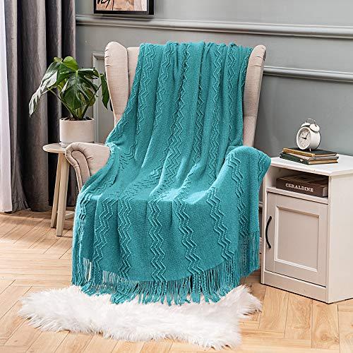 MIULEE Mantas Cama Mantas de Punto de Tejido Diseño Ondulado Suave Cálida Comoda para Adultos y Niños Manta Anti-Frio de Invierno para Descanso Siesta Dormitorio Sofa Silla 1 Pieza 125x150cm Azul