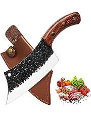 Promithi Keukenmes voor alle doeleinden, professioneel handgesmeed anti-aanbakmes, universeel mes, hakmes, Japans koksmes, damaststijl, keukenmes houten handvat (zwart)