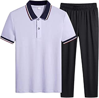Men 2 Piece Outfits Sportswear Short Sleeve Shirt and Shorts Set Joggers Set Tracksuit