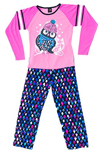 Just Love Two Piece Girls Pajamas Set, Owl Feather, 14-16