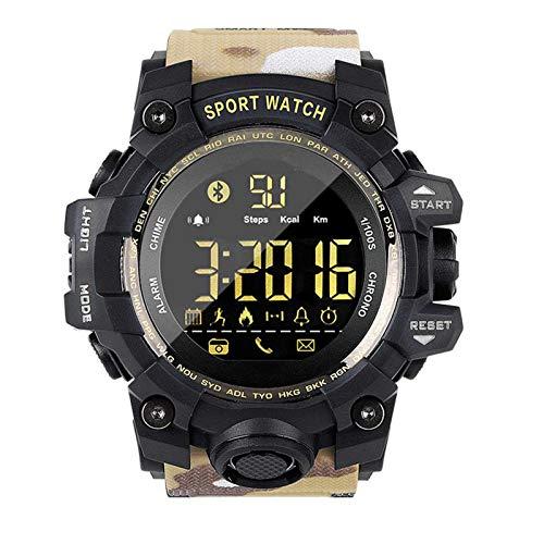 NUELLO Salud Y Estado Físico Rastreador De Ejercicios,IP68 Impermeable Bluetooth 4.0 Podómetro Rastreador De Actividad Pulsera Deportiva Smartwatch para Hombre-Caqui Camuflaje