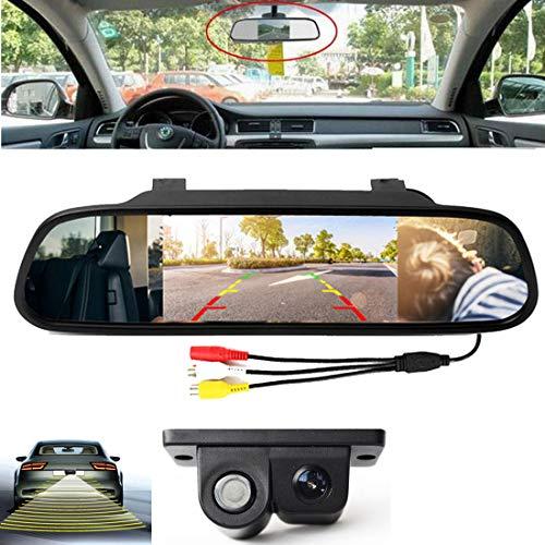 """VIGORFLYRUN PARTS LTD 4.3""""Monitor de estacionamiento del Espejo retrovisor del Coche + sensores de estacionamiento de Video con cámara de visión Trasera"""
